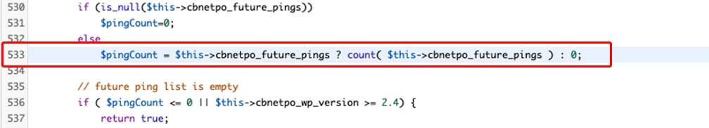 $pingCount = $this->cbnetpo_future_pings ? count( $this->cbnetpo_future_pings ) 0