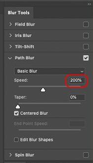 「速度」のスライダーを200%まで上げてぼかす量を増やす
