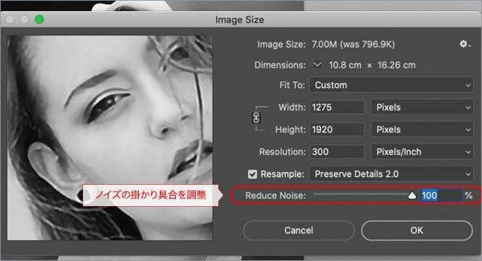 3. 「画像解像度ウィンドウ」でノイズを調整する