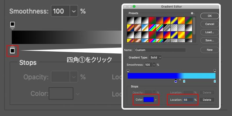 ②-1:バー左の色と位置を設定