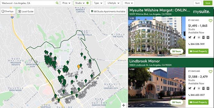 参考:UCLA付近のワンルーム家賃