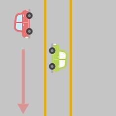 1. 対向車を横切って左折したいとき 2
