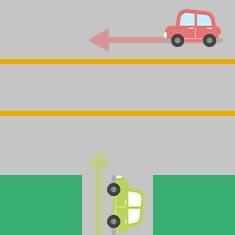 2. 側道から大きな道に左折するとき 1