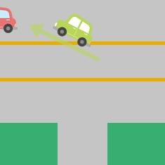 2. 側道から大きな道に左折するとき 3