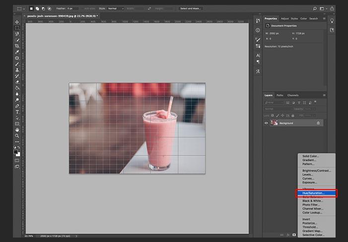 1. 塗りつぶし調整レイヤー > 色相・彩度をクリック