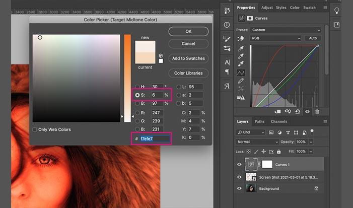 彩度を6%、カラーコードが#f7efe7になるくらいまで下げる