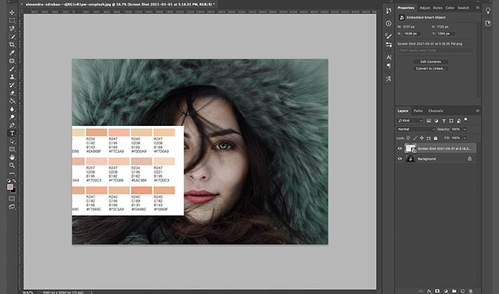 Photoshopで画像とカラーチャートを開く