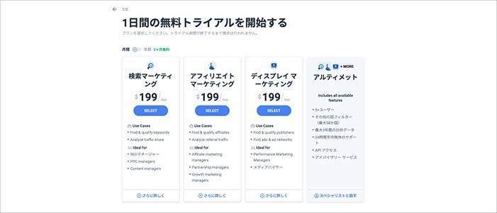 SimilarWeb_有料版パッケージ価格